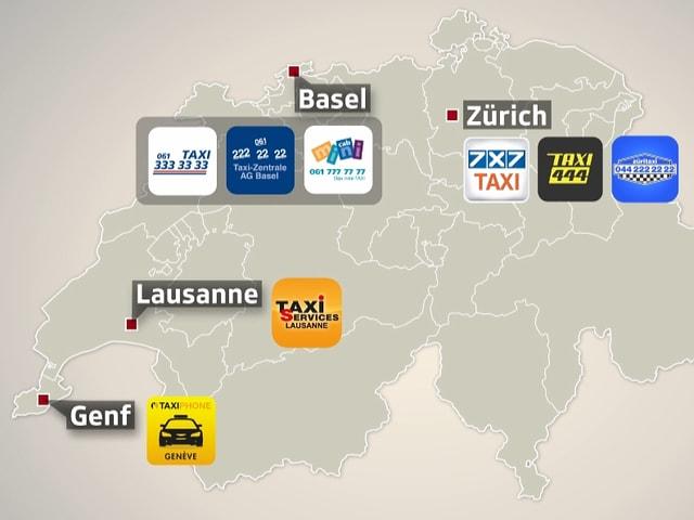 Schweizer Karte mit den Logos der Funk-Taxi-Zentralen.