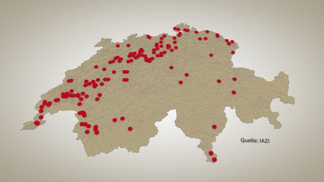 Schweizer Karte mit roten Punkten.
