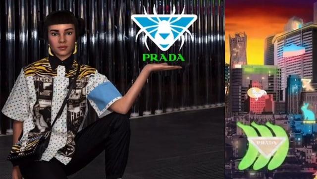 Lil Miquela steht neben einem Prada-Logo.