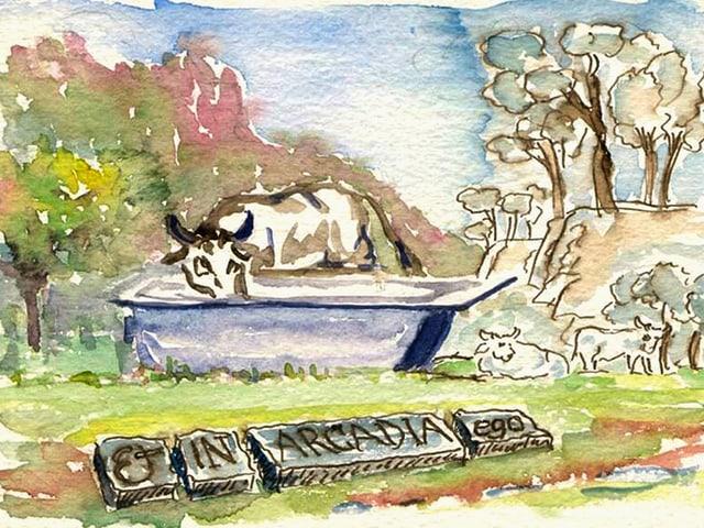 Kuh trinkt aus einem Wassentrog - vor ihreine Steinplatte mit dem Schriftzug «Et in Arcadia ego».