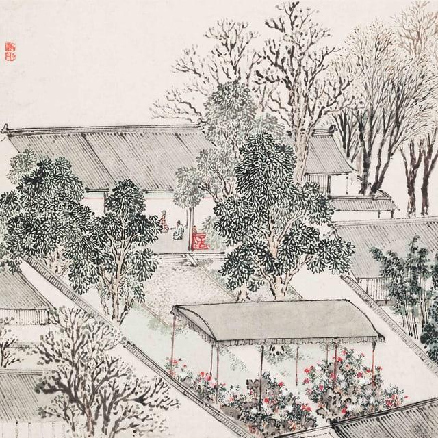 Illustration eines Gartens mit Bäumen und Sträuchern in wenigen Farben.