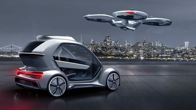 Ein Model eines Autos, das auch fliegen kann.