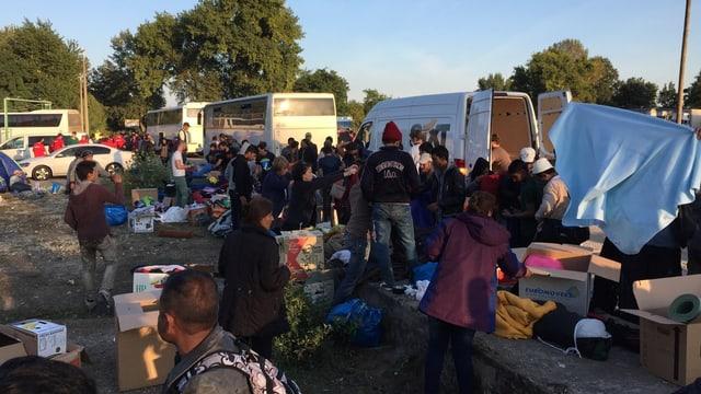 Flüchtlingscamp an der Grenze Ungarn-Slowakei.
