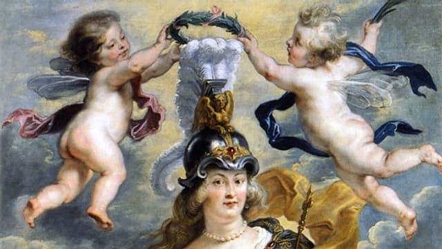 Gemälde von zwei kleinen nackten Engelm, die einen Reifen über das Haupt einer halb entblössten Frau, die einen Helm trägt, halten.