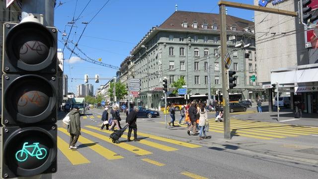 Der Bubenbergplatz in der Stadt Bern