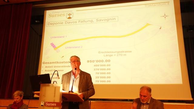Toni Sonder da la suprastanza da Surses declera las midadas a Davos Fallung.