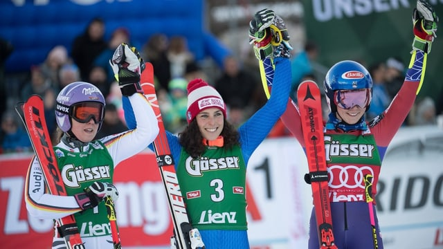 Viktoria Rebensburg, Federica Brignone e Mikaela Shiffrin.