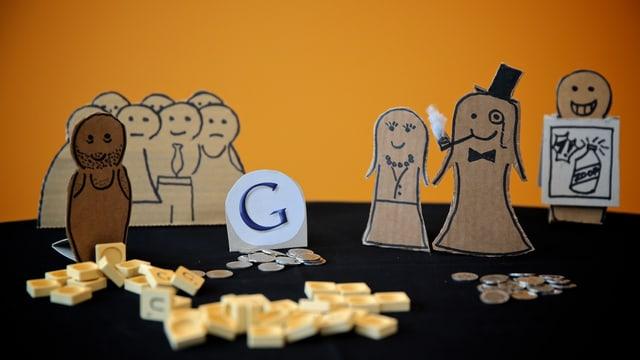 Pappmänchen, Münzen und Scrabble-Steine als Modell für Akteure, Geld- und Informationsflüsse bei Online-News.