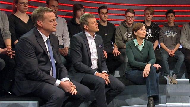 Martin Landolt (BDP), Jürg Grossen (GLP) und Regula Rytz (Grüne) in der «Arena».