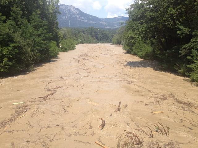Hochwasser bei der Emmemündung in Luterbach.