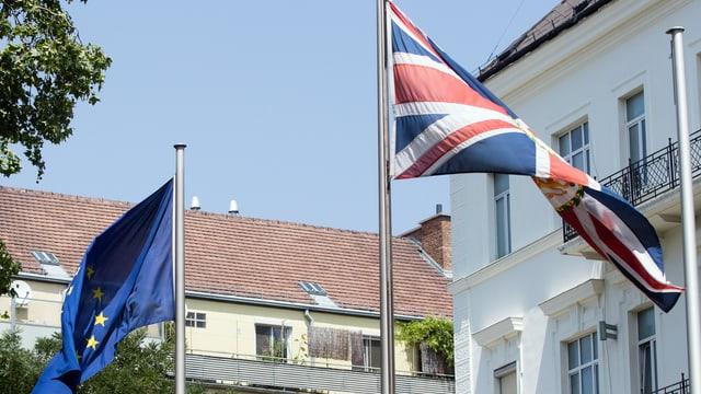 Flagge von Grossbritannien der EU im Wind