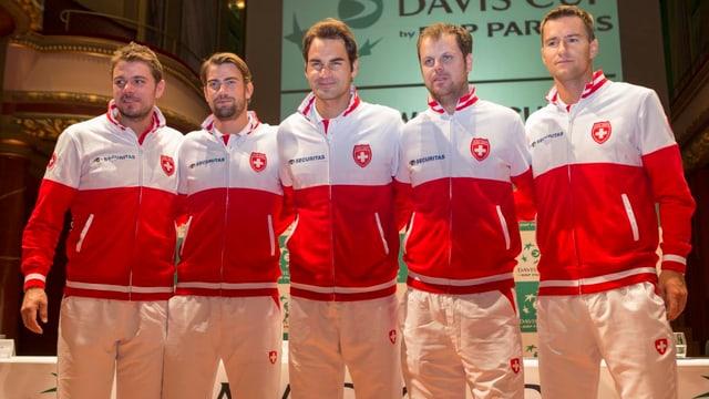 Wawrinka, Lammer, Federer, Lüthi und Chiudinelli.