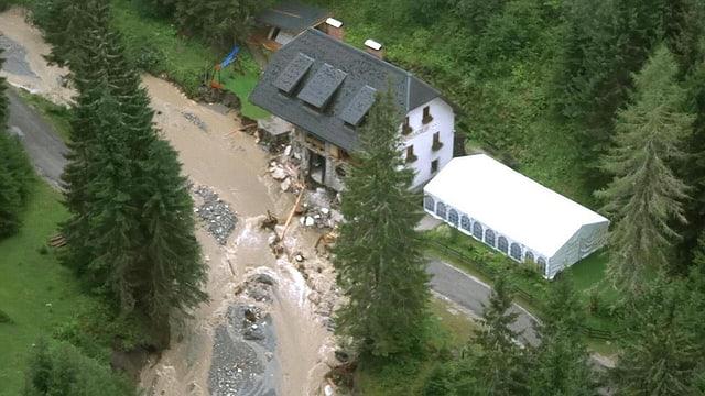 Purtret d'ina chasa ch'è donnegiada pervi d'ina bova en la Steiermark.