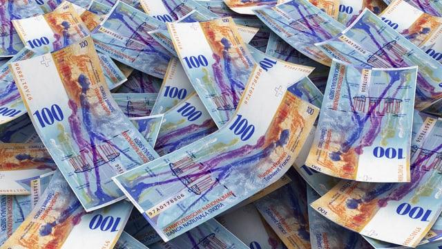 Viele Hundert-Franken-Noten übereinander