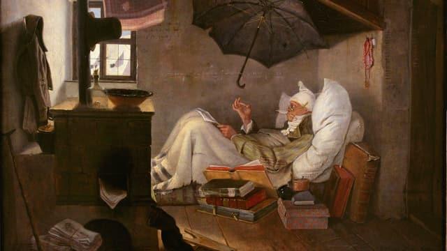 Carl Spitzwegs «armer Poet» liegt in einer Dachkammer in seinem Bett unter einem Regenschirm.