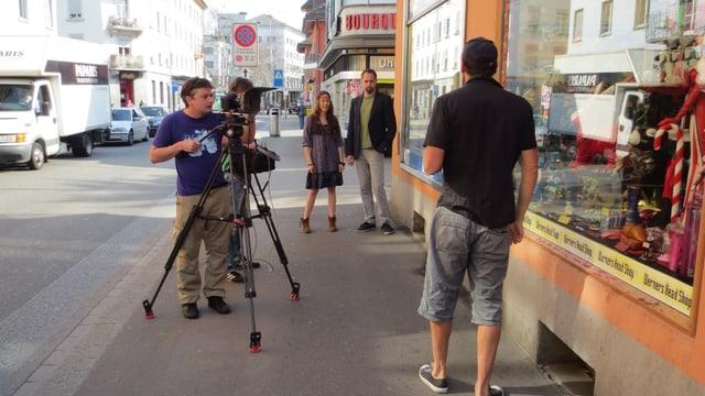 TV Crew an der Langstrasse in Zürich.