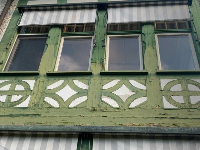 Fassade des Museums Langmatt mit Schäden.