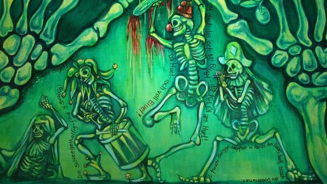 Trommelnde, pfeifende und tanzende Skelette auf Fasnachtsladärne.