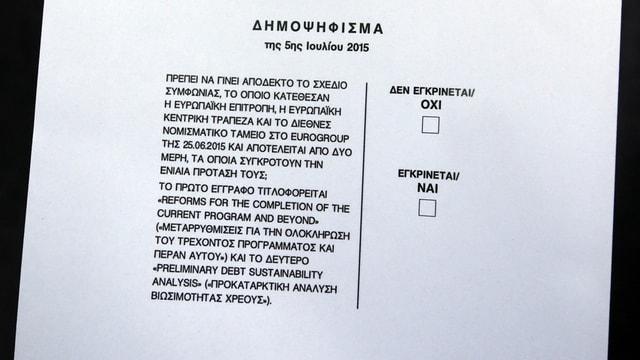 Il referendum davart il qual ils Grecs decidan: «Oxi» (na) und «Nai» (gea) e la dumonda.