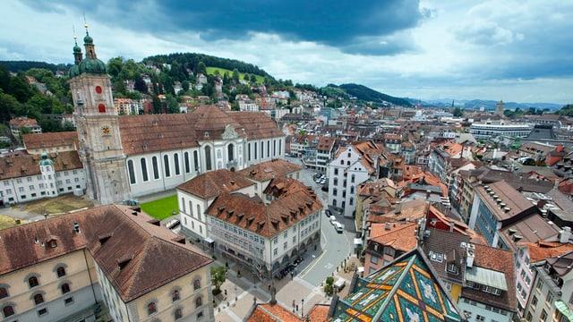 Die Stiftskirche und die Stadt St. Gallen.