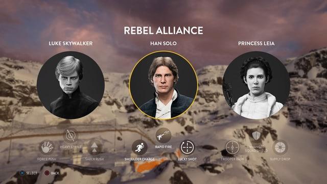 Zwischen Luke, Han und Leia wählen.