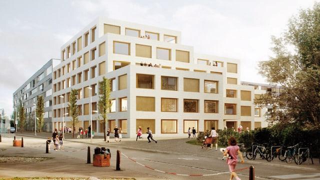 Ein Architekturmodell des neuen Schulhauses. 6 Stockwerke hoch mit grossen Fenstern