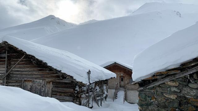 Madris. Eine Häusergruppe im tiefen Schnee.