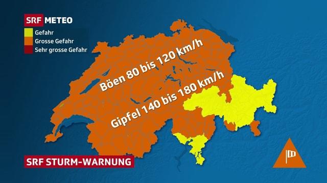 Schweizerkarte mit Warnregionen für Sturm