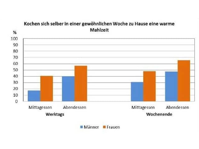 Diagramme überdie Häufigkeit der Zubereitung einer warmen Mahlzeit zuhause