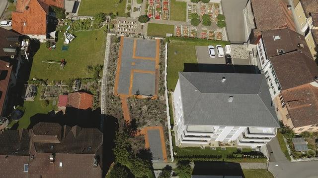 Blick auf den Grundriss des Königshofes
