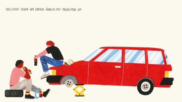 Illustration: Zwei Männer sitzen auf der Haube eines Auto, bei dem ein Rad abgenommen wurde, und essen.