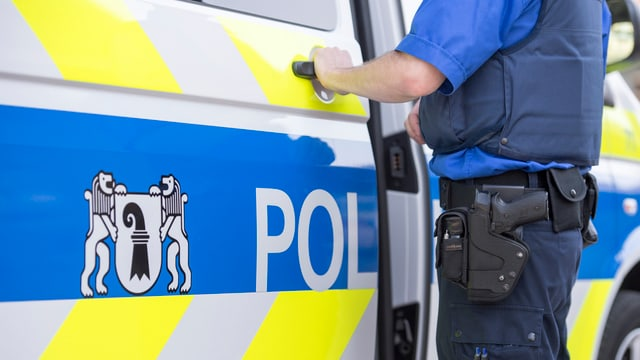 Polizeiauto und ein Polizist.