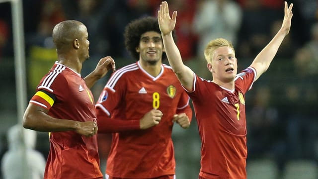 Belgiens Nationalspieler jubeln