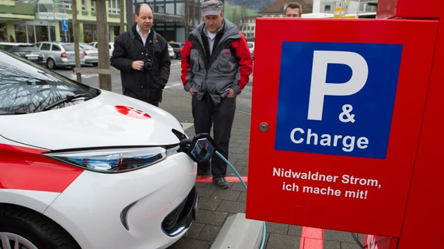 ein Elektrofahrzeug wird an einer Ladestation aufgeladen.