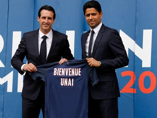 Unai Emery und PSG-Präsident Nasser Al Khelaifi.