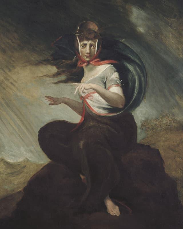 Ein Gemälde einer Frau, die auf einem Stein sitzt und verwirrt reinschaut