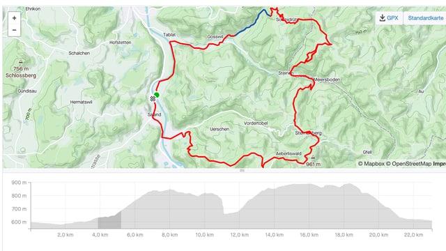 Die Karte der Radfahrt