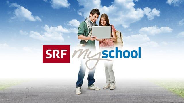 Keyvisual von SRF mySchool: zwei Jugendliche halten einen Laptop