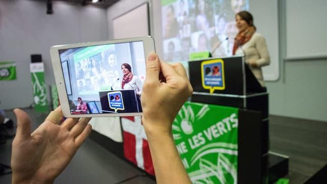 Greta Gysin an einer Wahlkampfveranstaltung 2015.