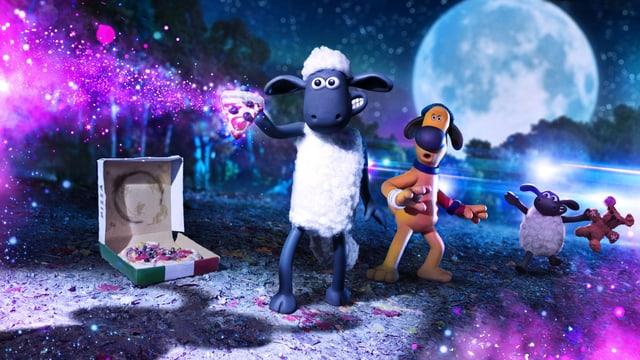 Das Schaf hölt ein leuchtendes Pizzastück. Hinter ihm steht ein staunender Hund und ein kleines Schaf.