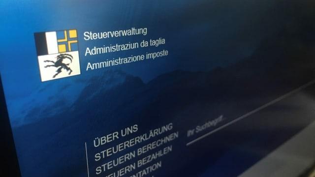 Purtret da la pagina d'internet da l'administraziun da taglia dal Grischun