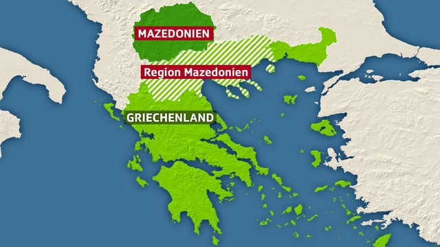 Karte mit Griechenland und Mazedonien.