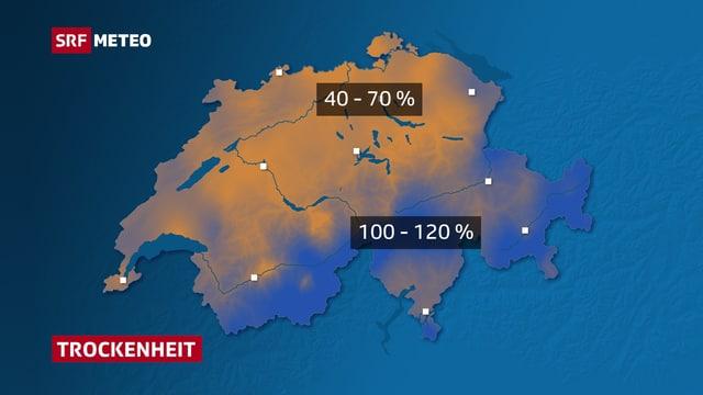 Die Schweizerkarte zeigt in Braun- und Blautönen welche Regionen der Schweiz besonders trocken sind.