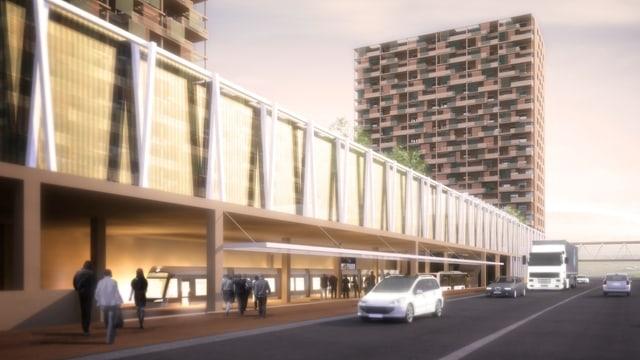 Eine Visualisierung des Bauprojekts mit zwei Hochhäusern und der Haltestelle