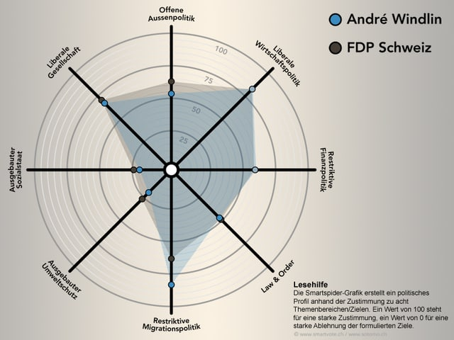 Eine grafische Darstellung der politischen Haltung eines Ständeratskandidaten in Spinnennetzform.