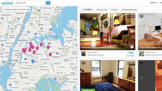 Screenshot der Internetseite von Airbnb.