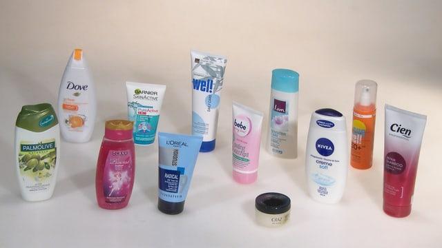 Verschiedene Kosmetikprodukte.