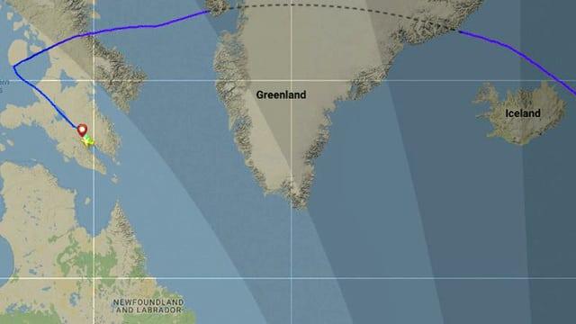 Karte mit der Flugstrecke der Swiss-Maschine auf Flightradar24