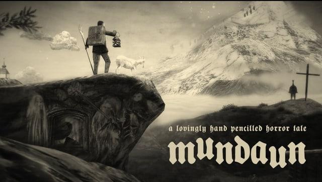 ein schwarzweiss-handgezeichnetes Bild von einem Mann, der auf einer Berguppe steht.