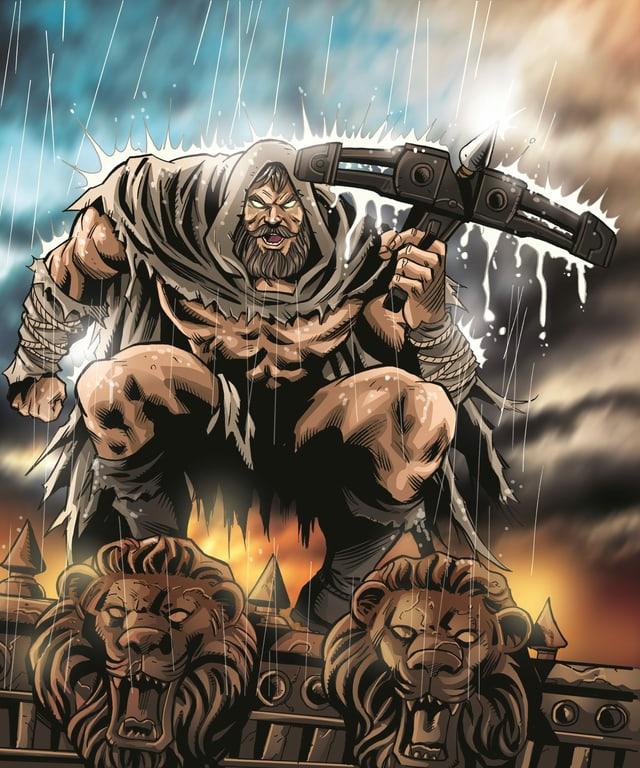 Comic Wilhelm Tell mit Armbrust und finsterem Blick